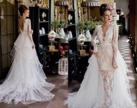 Wholesale 2016 Vintage Wedding Dresses V Neck Sheath Lace Tulle Backless Wedding Gowns Attachable Train Crystal Sashes Long Sleeves Bridal Dresses DZ