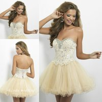 baby doll pictures - Baby Doll Short Prom Dress Sweetheart Lace Gem Crystals Bodice Cream Tulle Short Fromal Dress Girls Homecoming Cocktail Dress
