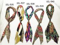 beautiful usa women - Fashion USA top new designer satin silk beautiful girl sexy crinkle tie bow summer print flower geometric women newest scarf shawl