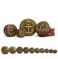 Wholesale 2pcs of quot Anchor quot Saddle Ear Plugs Tunnels Wood Copper mm mm