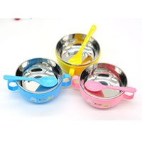 Wholesale Fasion Children Kids handle Soup bowl Container Dish Stainless Steel Nonslip Colour Pink Yellow Blue Hot Good Quality