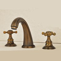 antique brass finish bathroom faucets - PHASAT New Three Holes Antique Brass Finish Basin Faucet Hot And Cold Water Mixture Bathroom Sink Faucets