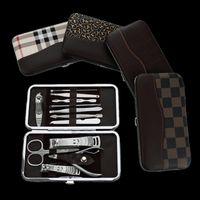 Wholesale Stone Pattern Case set Nail Clipper Kit Nail Care Set Pedicure Scissor r Knife Ear pick Utility Manicure Set Tools