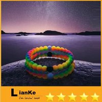 Wholesale Mix Size S M L XL Mix Colors beads bracelet Silicone Wristband Silicone bracelet with Tag