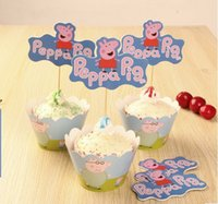 Wholesale Party Decoration Cartoon Pig cupcake wrappers and toppers for Kids Birthday Christmas Decorations Supplies