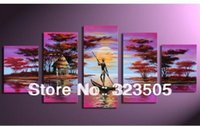 africa artwork - Africa artwork fishing boat piece canvas art purple deco oil painting for