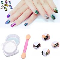Wholesale Free DHL g Box Glitter Magic Mirror Chrome Effect Dust Shimmer Nail Art Powder Pigment Shinning Mirror Effect With Brush Colors