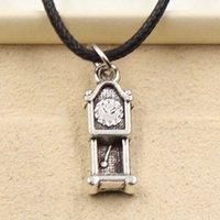 big clock chain - 12pcs New Fashion Tibetan Silver Pendant big ben clock mm Necklace Choker Charm Black Leather Cord Factory Price Handmade Jewlery