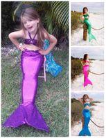 Wholesale Children Costumes Mermaid Tail Swimwear Year Kids Swimwear Mermaid Swimmable Swimsuit Swimming Princess Bikini Set CM