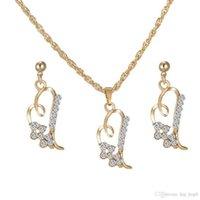 achat en gros de nouvel amour korean-Créer Crystal Rhinestone Love en forme de coeur Boucles d'oreilles en coréen Ensembles de bijoux à la mode The Clothing Accessories New Arrival