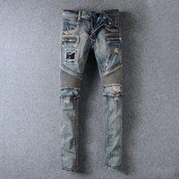 Wholesale Balmain Men s Slim Fit Distressed Denim Biker Jeans Mended Blue Wash Jeans Pants New Style July