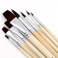 Wholesale Durable Set Nylon Hair Watercolour Acrylic Oil Painting Paint Brush Set Supply Painting Brush Wood Handle Papelaria