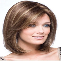 straight European Wigs Christmas Capless Classy Stylish Long Straight Brown with Strips Woman's Synthetic Hair Wigs Wig Suit for Daily Life