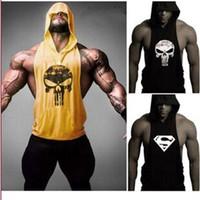 Wholesale Skull bape clothing Golds Bodybuilding Stringer suprem Hoodies Gym Stringer Hoodie Fitness Brand Tank Top Men Clothing Cotton Pullover Hoody
