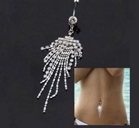 Wholesale 50 Diamond Belly Button Ring Titanium Steel Navel Nail Tassels Stainless Steel Belly Button Ring Body Piercing Jewelry