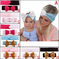 adult baby accessories - Baby Adult Bow Headbands Girls Mommy Cute New Bow Hair Band Infant Lady Lovely Elastic Headwrap Children Bow Knot Hair Accessories Colors