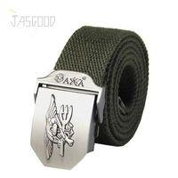 animal equipment - Designer Canvas Mens Belts Plain Webbing Mens Straps Casual Style Eagle Metal Buckle Ceinture Classic Belts for Men Military Equipment