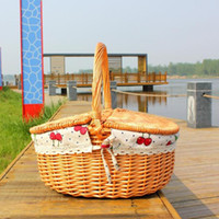 Wholesale wicker picnic basket wicker basket willow fruit basket storage basket with handle