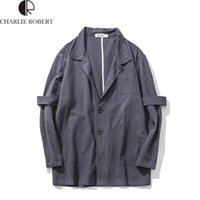 Wholesale Fall Men Classic Single Breasted Trench Coat Overcoat Linen Retro Simplicity Jacket Mens Long Jackets for Male British Style Coat