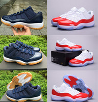 stretch fabric - 2016 Origina quality Air Retro men Basketball Shoes low Navy Gum Blue White Varsity Red Men s Sneakers sports shoes Athletics Boots