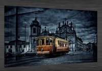 art tram - Original US High tech HD Print Landscape Oil Painting Art On Canvas TRAM IN THE CITY x36inch Unframed