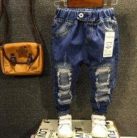 Wholesale New Boys Girls Jeans Yrs Children Broken Hole Jeans Pants Fashion Baby Children Pants High Quality Kids Trousers ZJ04