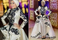 apple style buttons - New Fashion Embroidery Evening Dresses with Pants Saudi Arabic Style Ruffle Skirts Black and White Prom Formal Gowns