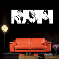audrey hepburn paintings - 3 Panel Art Large Classic Marilyn Monroe and Audrey Hepburn Picture Painting on Canvas Print Modern Home Decorations Wall Art