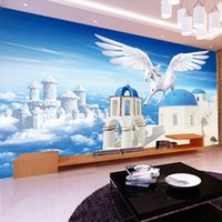 background city - Custom photo Silk D wallpaper for walls D living room hotel office TV background wall covering Pegasus city mural wallpaper