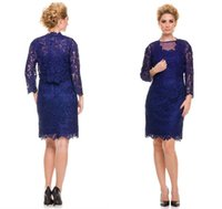 Wholesale Sapphire Blue Ivory - Custom-Made 2016 Mother of the Bride Dress with Jacket Three Quarter Sleeve Mini Full Lace Sapphire Short Evening Prom Dresses