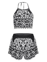aztec crop tops - 2016 Women Two Pieces Backless Spaghetti Strap Halter Elephant Animal Geometric Aztec Prints Crop Top with High Waist Shorts