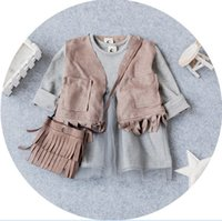 baby grey suit - Baby Girls Outfits Tassels Waistcoat Tulle Dress Handbag Causal Suits Girls Clothes Kid Clothes Sets Grey Pink K7729
