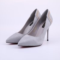 Wholesale 2016 New Arrive Women Shoes Brand Dress Pumps High Heels Thin Stiletto Pointed Toe Suede High Quality Rivets Fashion Women Shoes