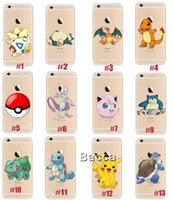 Wholesale Pokemons Pikachus Charizard Blastoise Squirtle Transparent Silicone Soft TPU cover print phone case for iphone s plus plus