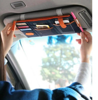 Wholesale sun shield storage bag car organizer bag colors multi purpose Sunvisor point pocket auto car hanging scanvas use for car
