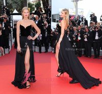 arc floor lights - TONI GARRN BLACK ARC SHAPED V NECK Prom Formal Evening Dresses Red Carpet A Line Sweetheart Velvet Celebrity Dress Party Gowns Arabic