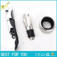Wholesale Three piece accessories wine bottle opener Stainless Steel Wine Bottle Cap Opener Corkscrew With Plastic Handle