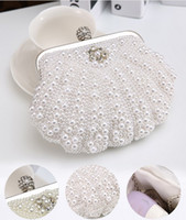 Wholesale Elegant evening bags women full pearls hand bags with free strap chain solid color handbags gifts for her