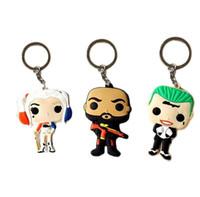 Wholesale 10pccs Suicide Squad Vinyl Figure Keychain Joker Harley Quinn Deadshot Unmasked pendants Keyrring llavero Bebe