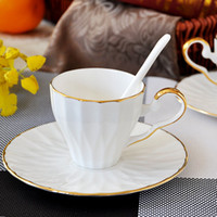 Wholesale Coffee Cup European simple white porcelain cup coffee cup set by the Phnom Penh creative with bone china coffee cup dish