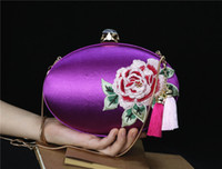 Wholesale Chinese Totem Shoulder Bags Handmade High grade silk satin evening folk style retro peony hand embroidery cheongsam dress collocation evenin
