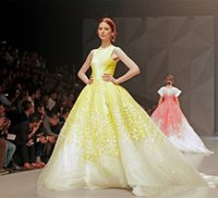 Wholesale Fancy A Line Long Chapel Train Tulle Pageant Dresses with Yellow Petal Flowers Custom Made Michael Cinco Evening Gowns Crew Neck Sleeveless