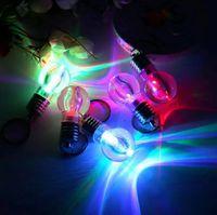 Wholesale 2016 Creative LED lighting bright Mini light bulb Colorful flash key chain Keychain Flashlight Light Bulb Key Ring Keychain Lamp Torch