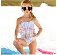 Wholesale Children bikini split swimwear tassel Swim Two Pieces European and American girls swimming Children bikini split swimsuit tassel DHL