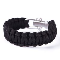 Wholesale New Mini ParaCord Survival Bracelet Weave Stand Stainless Steel Buckle Outdoo have color free shiping