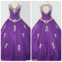 Wholesale 2016 Amazing Purple Girl Pageant Dress for Girls Ball Gown Bling Bling Beaded Rhinestone Flower Girl Dresses For Cupcake Pageant Dresses