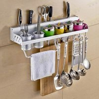 Wholesale Updated Version Multifunctional Aluminum Kitchen Wall Rack with with Shelves Bottle Racks Various Hanger Hooks Pot Organizer