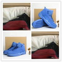 anti flu - original retro XII Flu Game Man sports sneakers Basketball shoes Blue Suede with shoe box