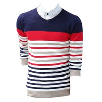 Wholesale High Quality Men s Striped Sweater Casual Sweater Men Pullovers Winter V Neck Sweaters
