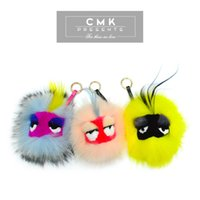 bags for work - CMK KST001 Cute Furry Keychain Real Fox Fur Ball with Letters A Z Cuztomized Produce in Working Days Bag Metal Bag Bugs for Girls